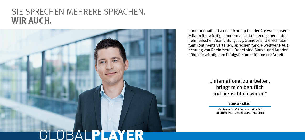 Global Player - Benjamin Guelich - Rheinmetall Group Career Prospects