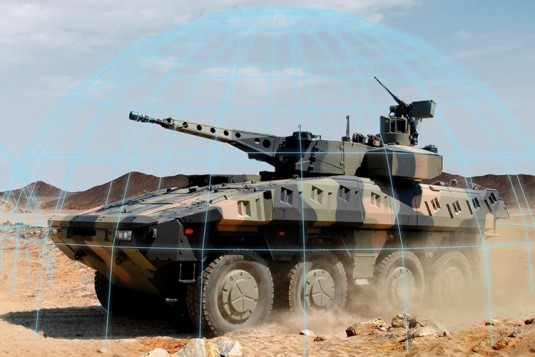 The protected armoured transport vehicle Boxer