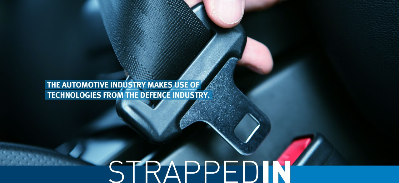 Strapped in: The automotive industry makes use of technologies from the defence industry. seatbelt tensioner
